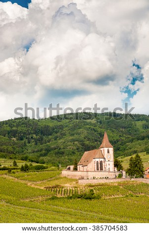 Church of Hunawihr wine village Alsace, France