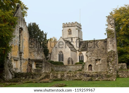 Church of Minster Lovell in Cotswold village with graveyard