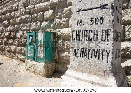 church of nativity street sign at bethlehem, west bank, Palestine - stock photo