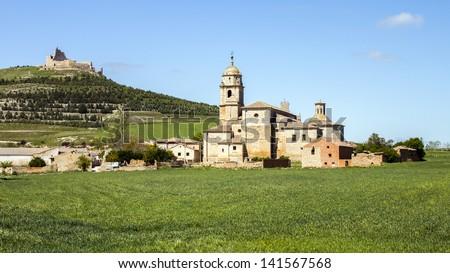 Church of Nuestra Se�±ora del Manzano and the Castle, Castrojeriz, Spain - stock photo