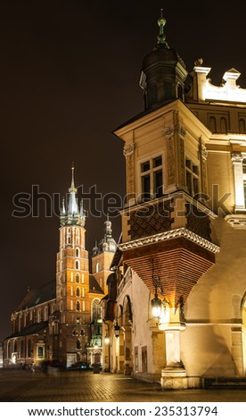 Church of Our Lady Assumed into Heaven is Brick Gothic church re-built in 14th century , adjacent to Main Market Square in Krakow, Poland. - stock photo