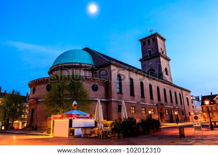 Church of Our Lady at the Evening in Copenhagen, Denmark - stock photo