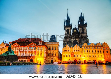 Church of Our Lady before Tyn at Old Town square in Prague at sunrise - stock photo