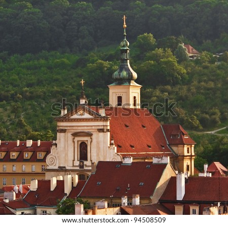 Church of Our Lady Victorious in Mala Strana of Prague - stock photo
