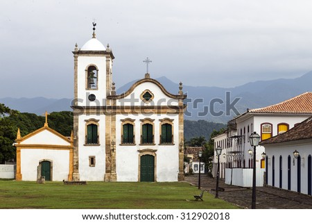 Church of Paraty. Paraty is a preserved Portuguese colonial and Brazilian Imperial municipality of Rio de Janeiro State, Brazil. - stock photo