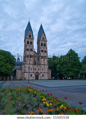 Church of Saint Castor at evening, Koblenz, Germany