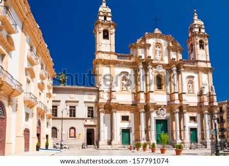 Church of Saint Dominic in Palermo, Italy, is the second in importance only to the Cathedral and is located in the Saint Dominic square,in the neighborhood of La Loggia. - stock photo