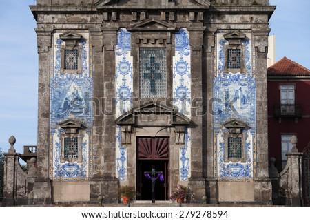 Church of Saint Ildefonso (Igreja de Santo Ildefonso) historic facade in Porto, Oporto, Portugal, Baroque style 18th century architecture. - stock photo