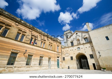Church of Saint John the Evangelist or San Giovanni Evangelista in the center of Lecce, Puglia, Italy, constructed between 133 and 1761 - stock photo