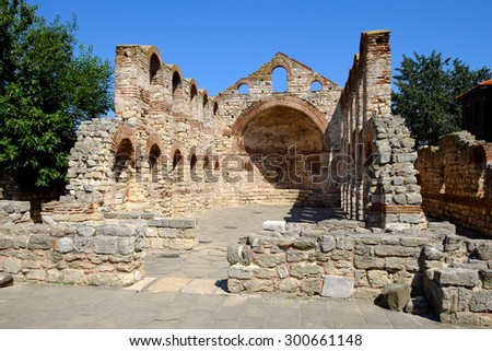 Church of Saint Sofia or Old Bishopric in ancient city of Nessebar, Bulgaria - stock photo