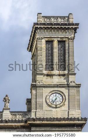 Church of Saint-Vincent-de-Paul (Eglise Saint-Vincent de Paul, design Jean-Baptiste Lepere, was built during 1824 - 1844) dedicated to Saint Vincent de Paul. Paris, France - stock photo