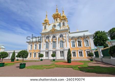 Church of Saints Peter and Paul in Peterhof, St Petersburg Russia - stock photo