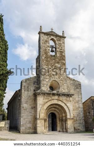 Church of Santa Maria de Porqueres XII century Romanesque Spain, Catalunya, Girona, Pla de l'Estany, Porqueres. - stock photo
