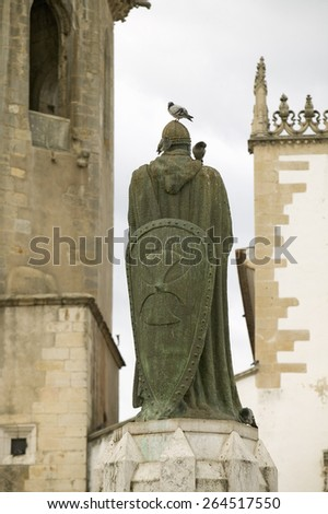 Church of Santa Maria do Olival was considered as the mother church of the Order of the Knights Templar in Portugal and it is the resting place of many of the past Masters, Tomar, Portugal - stock photo