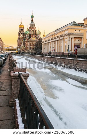 Church of Savior on Spilled Blood (1907) is one of the main sights of St. Petersburg. Russia, winter, dawn. - stock photo