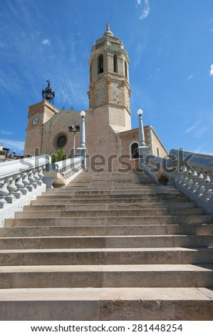 Church of Sitges, small village mediterranean in Catalonia.Spain - stock photo
