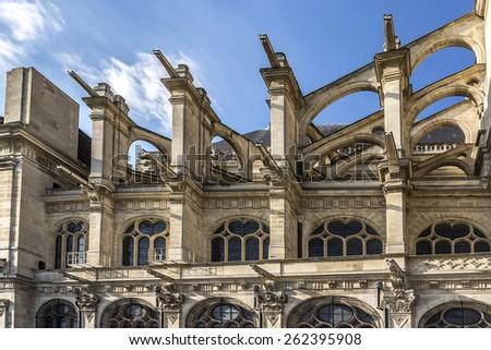 Church of St Eustache (Eglise Saint-Eustache) situated at entrance to Paris's ancient markets (Les Halles). Present building was built between 1532 and 1632. UNESCO World Heritage Site. Paris, France. - stock photo