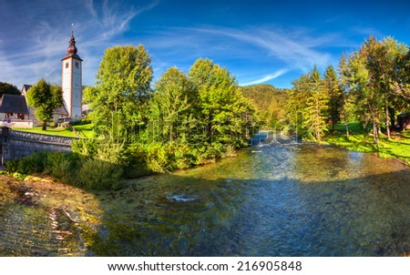 Church of St John the Baptist, Bohinj Lake, Triglav National Park, Slovenia - stock photo