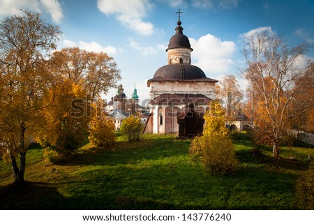 Church of St. John the Baptist in Kirillo-Belozersky Monastery.  The largest monastery of Northern Russia. - stock photo