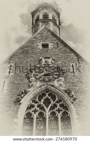 Church of St. Mary Magdalene (Chapelle de la Madeleine) - one of oldest churches in Brussels, Belgium. Magdalene Church having been established by Brothers of Mercy in 13th century. Antique vintage. - stock photo