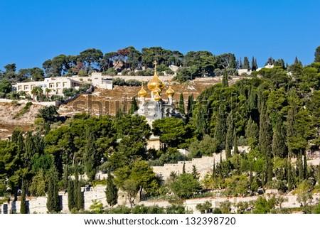Church of St. Mary Magdalene (Gethsemane) on the Mount of olives. Jerusalem - stock photo