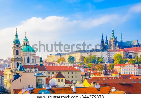 Church of St. Nicholas and prague castle - stock photo