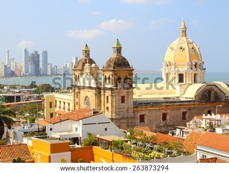 Church of St Peter Claver and bocagrande in Cartagena, Colombia - stock photo
