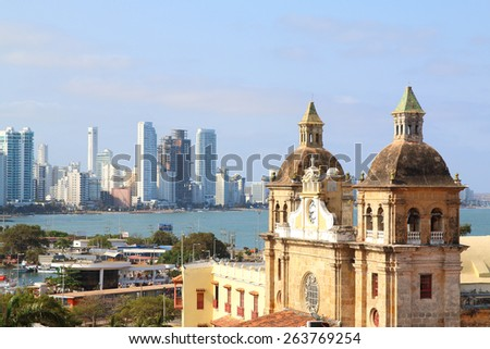 Church of St Peter Claver in Cartagena, Colombia. Historic city center - stock photo