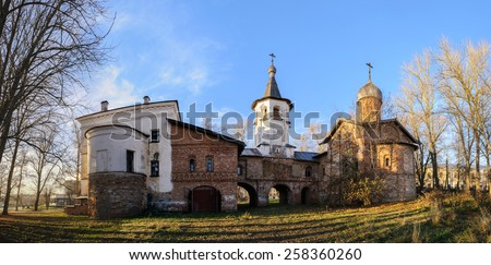 Church of the Annunciation at the Marketplace is connected to the church of the Archangel Michael by transition with a bell tower - stock photo