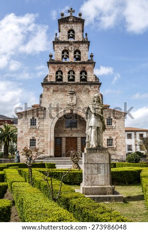 Church of the Assumption of Cangas de Onis, Asturias Spain and Statue of Don Pelayo, first king of Spain.  - stock photo