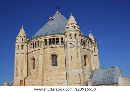 Church of the Dormition of the Virgin Mary and the bell-tower in Hadia Maria Sion Abbey in Jerusalem, Israel - stock photo