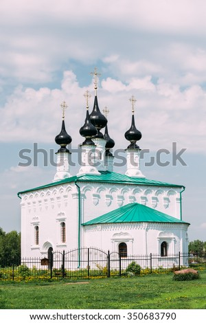 Church of the Entry into Jerusalem - the church in the center of Suzdal, situated between the shopping streets and fortifications of the Kremlin. Built in 1707. Russia - stock photo