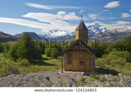 Church of the estancia cristina on the Lake Argentino, near the upsala glacier, in los glaciares national park of patagonia argentina: world heritage site of unesco
