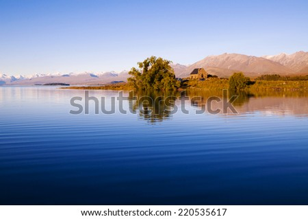 Church of the Good Shepherd and Lake, Mackenzie Country, Canterbury, New Zealand.