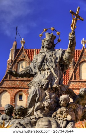Church of the Holy Cross, Memorial of Saint John of Nepomuc - stock photo