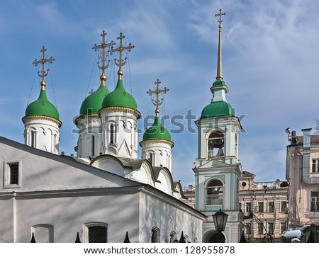 Church of the Holy Trinity in Listy is one of the oldest in Moscow. - stock photo