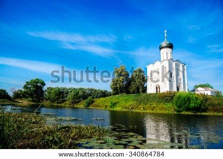 Church of the Intercession on the Nerl near the village Bogolyubovo, Russia - stock photo