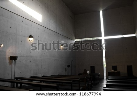 "Church of the light (sometimes called ""Church with Light"") is the Ibaraki Kasugaoka Church's main chapel. It was built in 1989, in the city of Ibaraki, Osaka Prefecture. - stock photo"