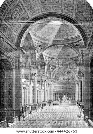 Church of the Madeleine, vintage engraved illustration. Magasin Pittoresque 1843.