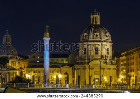 Church of the Most Holy Name of Mary and Trajan's Column at the Trajan Forum, Rome. Evening - stock photo