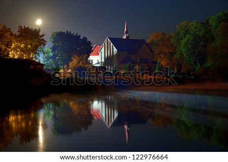 Church of the pond in Lubycza Krolewska, Poland.