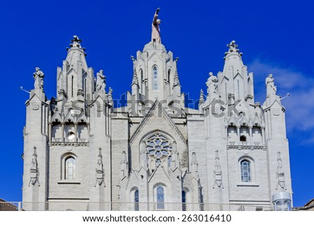 Church of the Sacred Heart of Jesus, located on the summit of Mount Tibidabo in Barcelona, Catalonia, Spain - stock photo