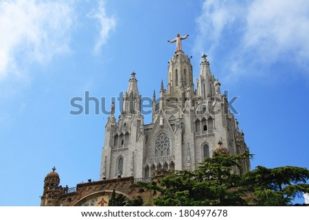 Church of the Sacred Heart of Jesus on summit of Mount Tibidabo in Barcelona, Catalonia, Spain.  - stock photo