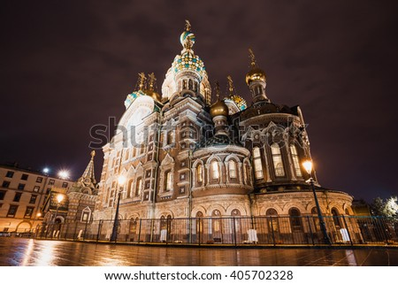 Church of the savior on spilled blood or Cathedral of the Resurrection of Christ, in Saint Petersburg, Russia