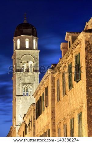 Church of the saviour at night in Dubrovnik, Croatia - stock photo