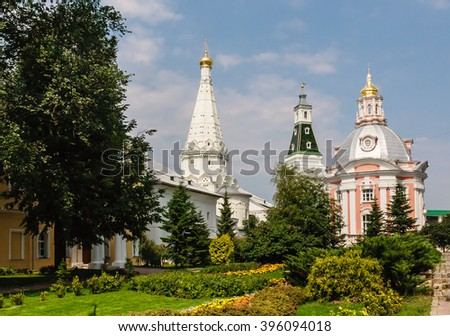 Church of the Smolensk Icon of the Mother of God, a temple in honor of St. Zosima and Savvatiy of Solovki and Caliche tower. Holy Trinity St. Sergius Lavra. Sergiev Posad, Moscow region