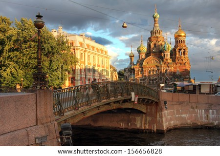 Church on Spilled Blood (or Resurrection Church of Our Savior) in Saint Petersburg, Russia during a golden hour in June 2013. - stock photo