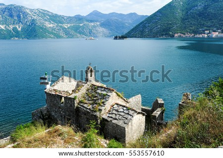 Church on the coast of Kotor bay, Montenegro