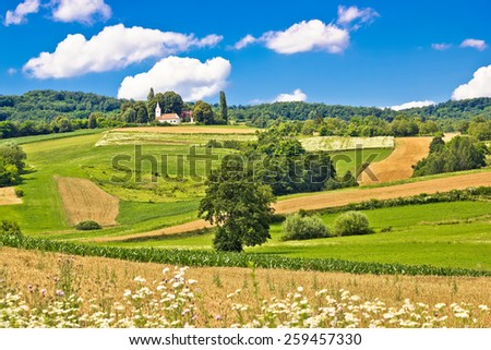 Church on the idyllic green hill, Prigorje region of Croatia - stock photo