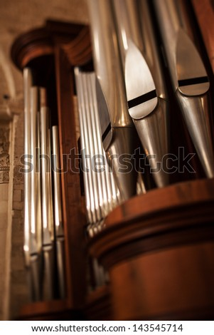 church organ detail - stock photo